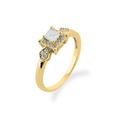 NOEL gold engagement ring with princess diamond