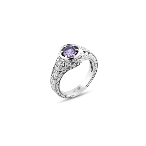 Vintage ring with amethyst 0.5 ct diamonds OSLO