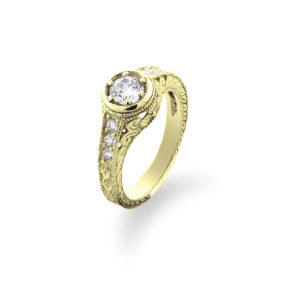 Zlatý zásnubní vintage prsten s diamanty 0.68ct OSLO
