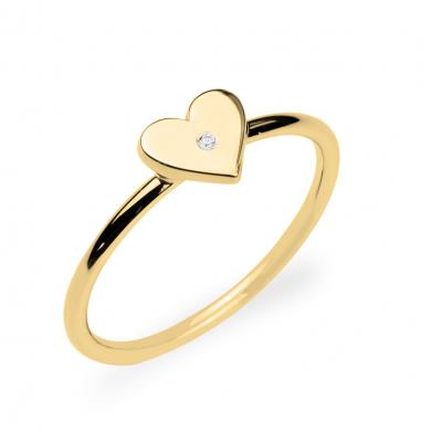 Zlatý prsten ve tvaru srdce s diamantem PATRICIA