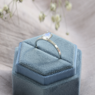 Gold ring with moonstone and diamonds ROXANE
