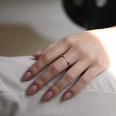 Gold minimalistic open ring with diamonds SILVIA