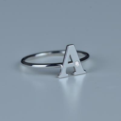 SKIBI name diamond  silver ring