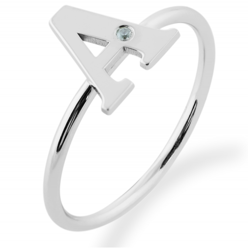 SKIBI name diamond  silver ring