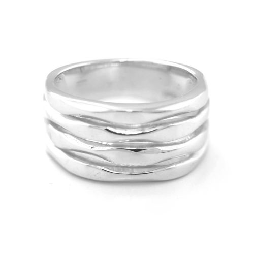 Silver maxi ring with fine grooves - SLEDE