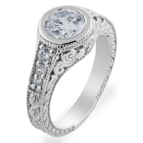 Vintage ring with moissanite and diamonds SOLA