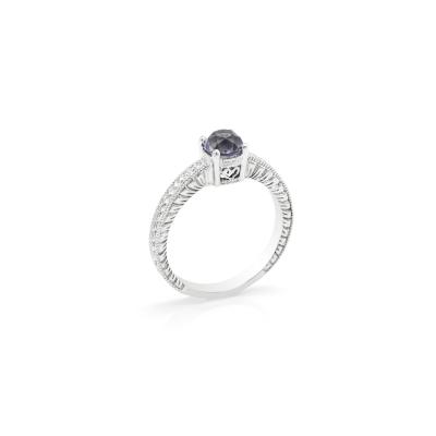 Prsten osazený fialovým zirkonem ve viktoriánském stylu STAI