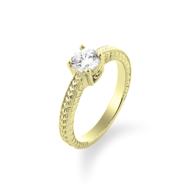 Original gold rings with moissanite 0.5ct  in Victorian style STAI