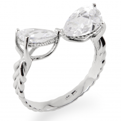 Fantastic sterling silver bow ring with zircon stones SULA