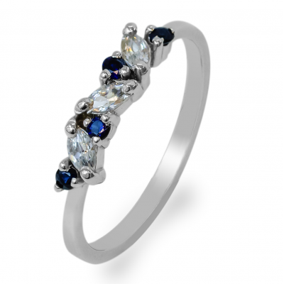 Gold ring with sapphires and diamonds VALLY