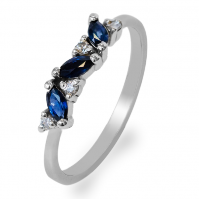 Gold ring with sapphires and round diamonds VALLY