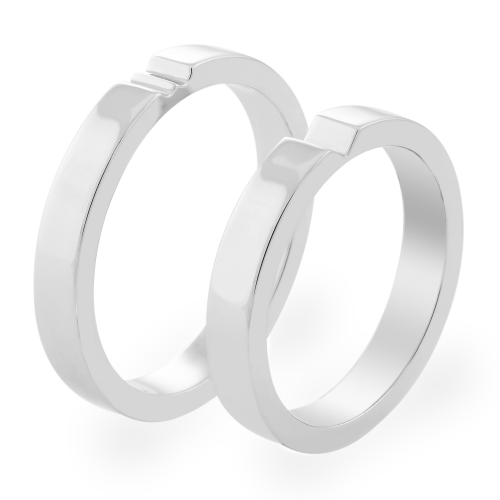 White gold wedding rings with a secret heart ADELIA