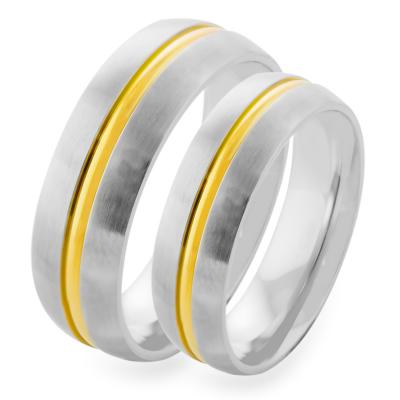 Zlatý snubní prsten s linií AMBER