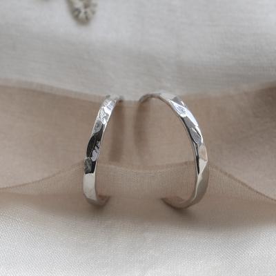 Unusual hammered wedding bands Viola