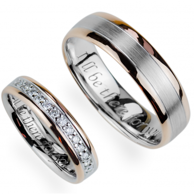 AVRIL combination gold diamond wedding rings