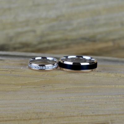 Zlaté snubní prsteny s černým rutheniem a diamanty AVRIL