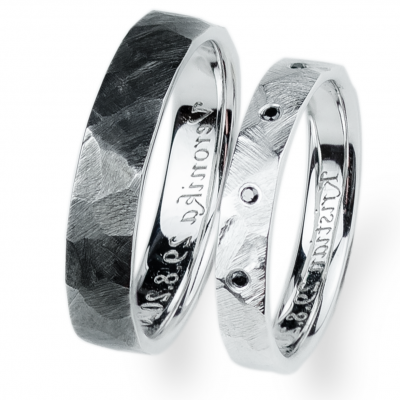 Hammered Gold Wedding Rings with black diamonds BARCA