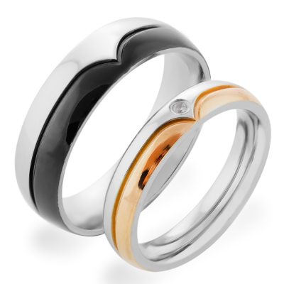 BENES combination gold diamond marriage rings