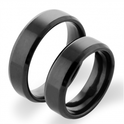 BLAKE yellow gold and black ruthenium wedding rings