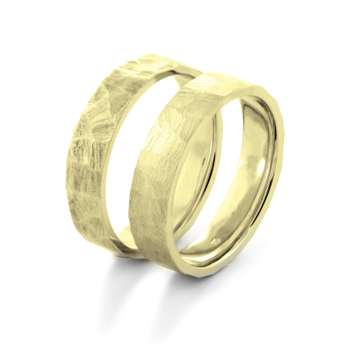 Gold hammered wedding rings BOMM