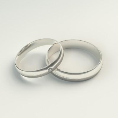 BRONSE gold diamond dress wedding rings - Yin-Yang harmony