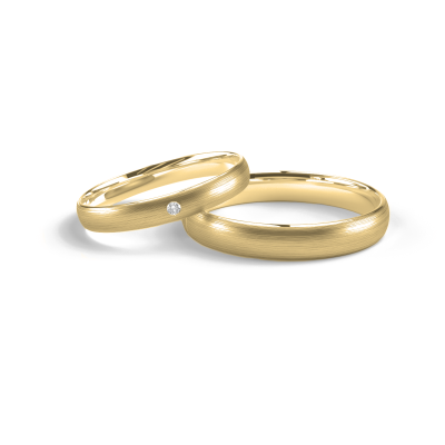 Solid wedding rings made of red gold with diamond (mat)