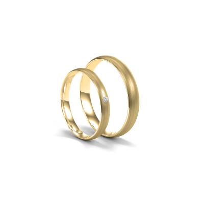 Komfortní snubní prsteny s diamantem z bílého zlata (matný)