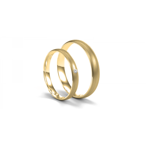 D-SHAPE yellow gold mat wedding rings with diamond 0.020ct - Delicate Simplicity