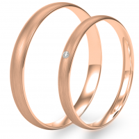 Solid wedding rings made of red gold with diamond 0.020ct (mat)