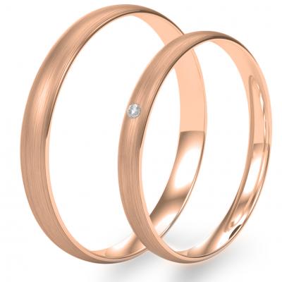 Komfortní snubní prsteny s diamantem z růžového zlata (matný)
