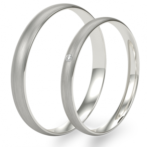 Solid wedding rings made of white gold with diamond  (mat)
