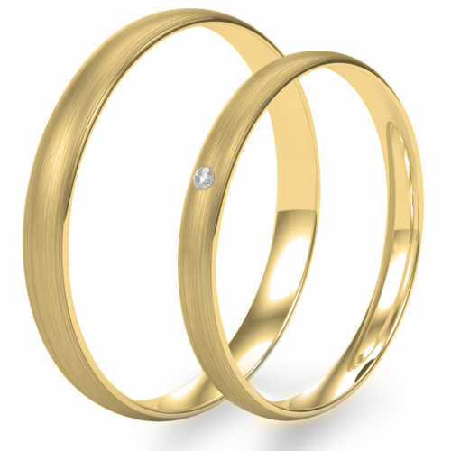 Solid wedding rings made of yellow gold with diamond (mat)