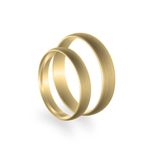 D-SHAPE mat wedding yellow gold rings - Delicate Simplicity