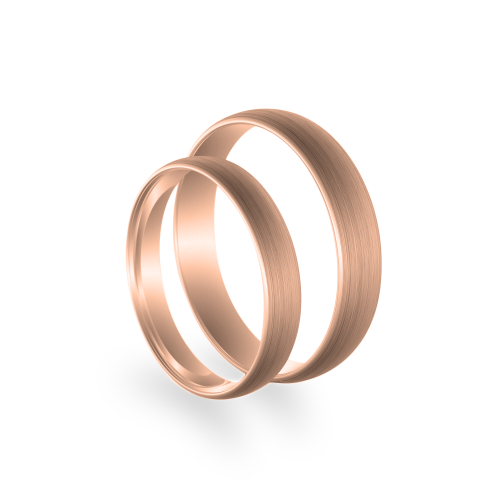 D-SHAPE mat wedding red gold rings - Delicate Simplicity