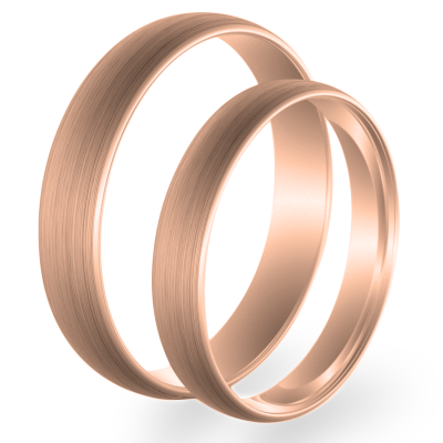 Solid wedding rings made of red gold (mat)