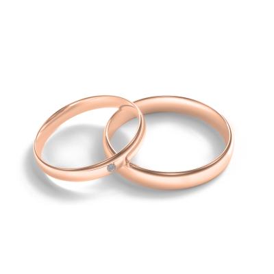 Snubní prsteny  z červeného zlata  s diamantem D-SHAPE