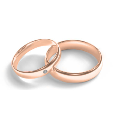 D-SHAPE red gold wedding rings  with diamond Delicate Simplicity