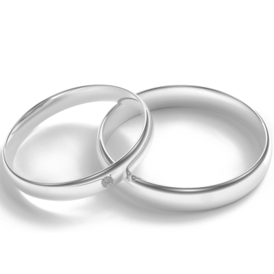 D-SHAPE white gold wedding rings  with diamond Delicate Simplicity