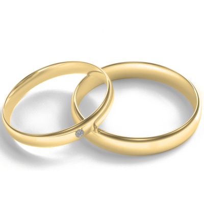 D-SHAPE yellow gold wedding rings with diamond Delicate Simplicity
