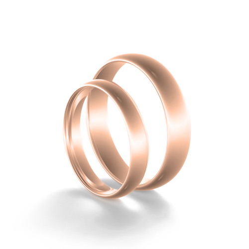 D-SHAPE wedding red gold rings - Delicate Simplicity