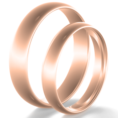 Solid wedding rings made of red gold