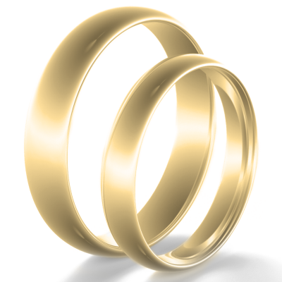 Solid wedding rings made of yellow gold