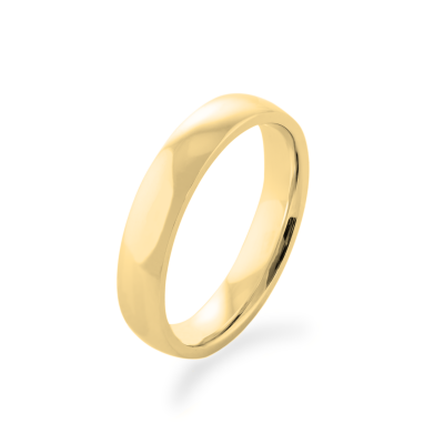 D-SHAPE wedding yellow gold rings - Delicate Simplicity
