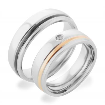 Snubní prsteny s diamantem z kombinovaného zlata ELIS