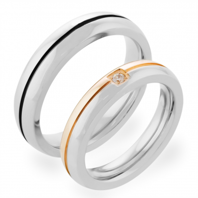 FERDE combination gold diamond wedding rings
