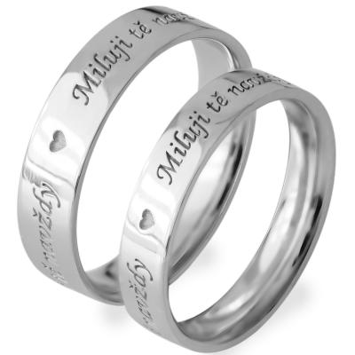 Gold wedding rings with custom engraving FIBI