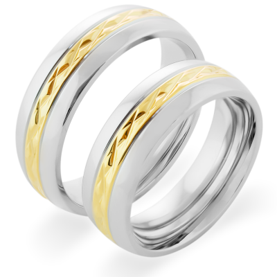 FIDES relief combination gold wedding rings