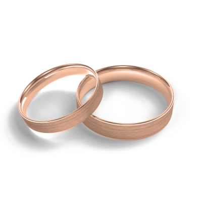 Flat matt wedding rings made of red gold
