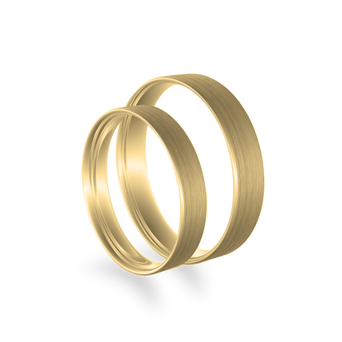 Flat matt wedding rings made of yellow gold