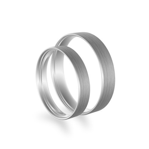 Flat matt wedding rings made of white gold